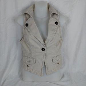 Ann Taylor Loft size 0 Khaki Vest Blazer Utility